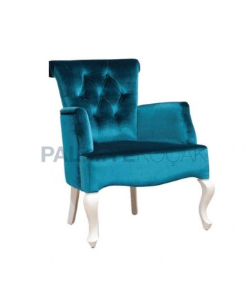 Turquoise Velor Fabric with Lacquered Painted Modern Armchair