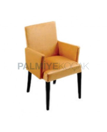 Orange Leather Upholstered Armchair