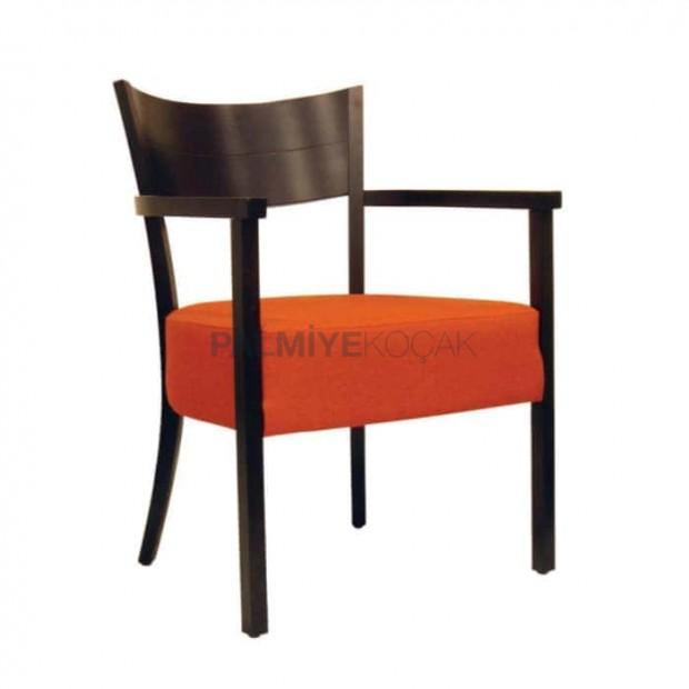 Turuncu Deri Döşemeli Venge Boyalı Ahşap Sandalye