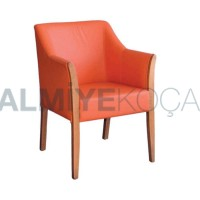 Orange Leather Upholstered Modern Armchair
