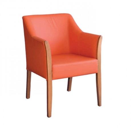 Turuncu Deri Kaplı Modern Kollu Ahşap Sandalye - mskb50