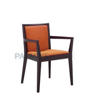 Orange Fabric Upholstered Hotel Armchair