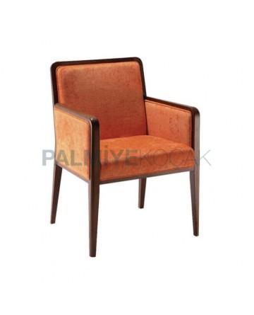 Orange Fabric Restaurant Arm Chair