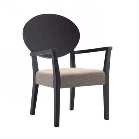 Venge Boyalı Bej Döşemeli Kollu Sandalye - mska88