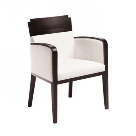 Venge Boyalı Beyaz Kumaş Döşemeli Modern Kollu Sandalye - mska18