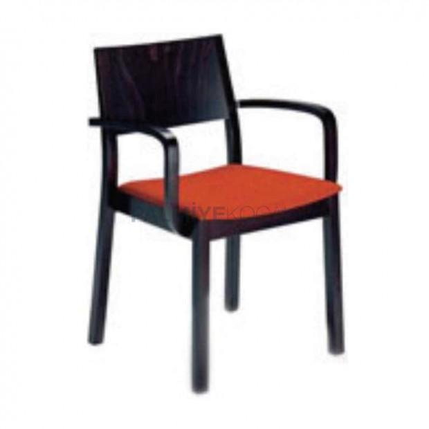 Venge Boyalı Turuncu Minderli Kollu Sandalye