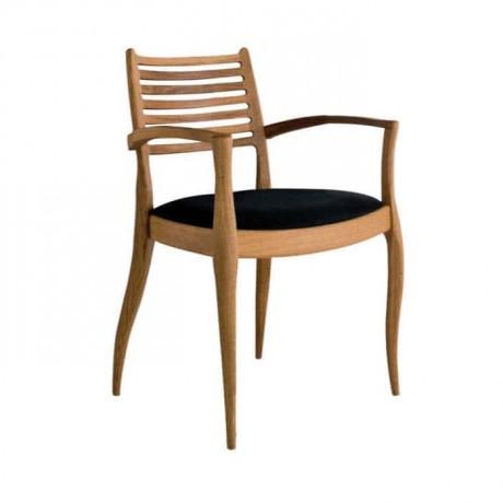 Yatay Çıtalı Natural Ahşap Boyalı Modern Kollu Sandalye - mska83