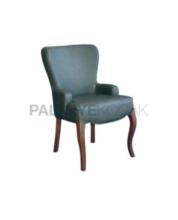 Yeşil Derili Lukens Ayaklı Modern Sandalye