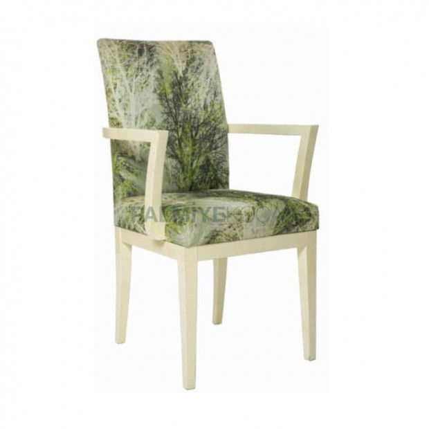 Yeşil Kumaşlı Beyaz Lake Kumaşlı Ahşap Modern Sandalye