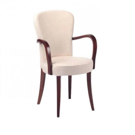Yuvarlak Beyaz Döşemeli Moderrn Kollu Restoran Cafe Ev Sandalyesi - mska26
