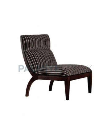 Armless Bergere with Striped Fabric