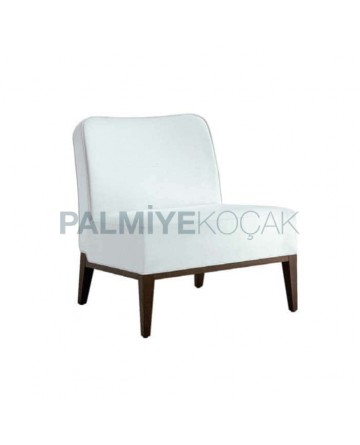 Armless Modern White Fabric Bergere