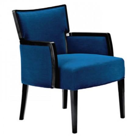 Mavi Kumaşlı Açık Kollu Modern Berjer - bm08