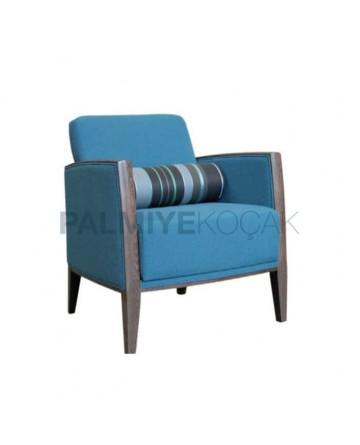 Modern Blue Fabric Bergere