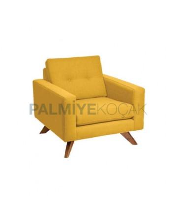 Yellow Fabric Cushioned Bergere