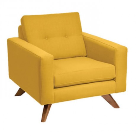 Sarı Kumaşlı Minderli Berjer - bm38