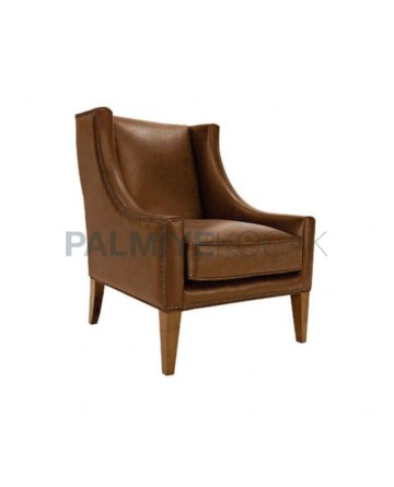 Half Arm Brown Leather Bergere