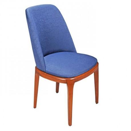 Parlement Mavisi Kumaş Döşemeli Ahşap Ayaklı Modern Kolsuz Sandalye - Ahşap Modern Sandalye