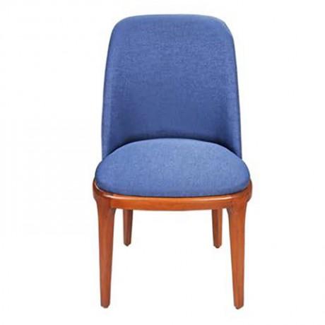 Parlement Mavisi Kumaş Döşemeli Ahşap Ayaklı Modern Kolsuz Sandalye - nkas43