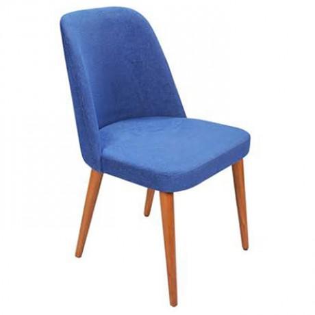 Parlement Mavisi Kumaşlı Retro Ayaklı Modern Sandalye - Ahşap Modern Sandalye