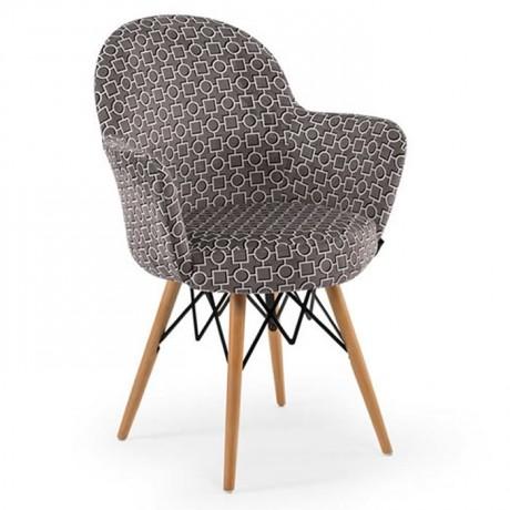 Retro Ayaklı Özel Desenli Kumaş Döşemeli Sandalye - psa700a