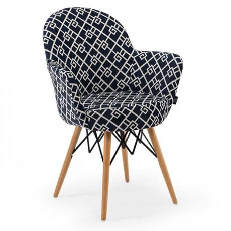 Retro Ayaklı Özel Desenli Kumaş Döşemeli Sandalye - psa700b