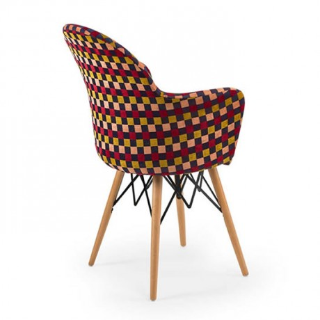Retro Ayaklı Renkli Kumaş Döşemeli Sandalye - psa700f