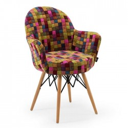 Special Patterned Fabric Upholstered Chair with Retro Leg