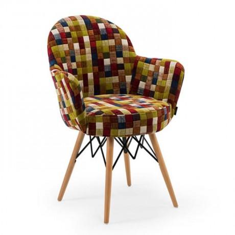 Retro Ayaklı Renkli Kumaş Döşemeli Sandalye - Ahşap Modern Kollu Sandalye