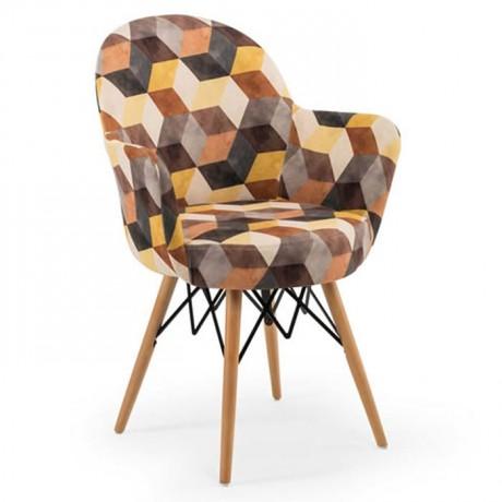 Retro Ayaklı Renkli Kumaş Döşemeli Sandalye - psa700k
