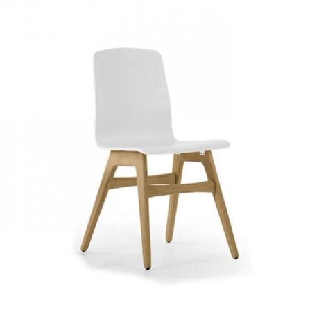 Beyaz Ahşap Ayaklı Mutfak Cafe Sandalyesi - lms130