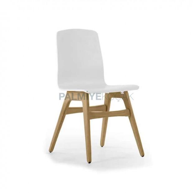 Beyaz Ahşap Ayaklı Mutfak Cafe Sandalyesi