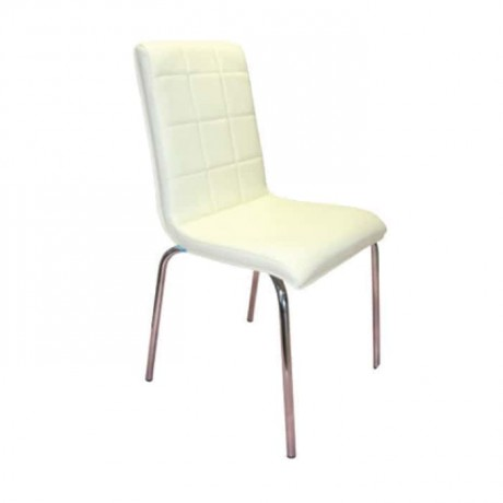 White Leather Metal Restaurant Chair - dms073