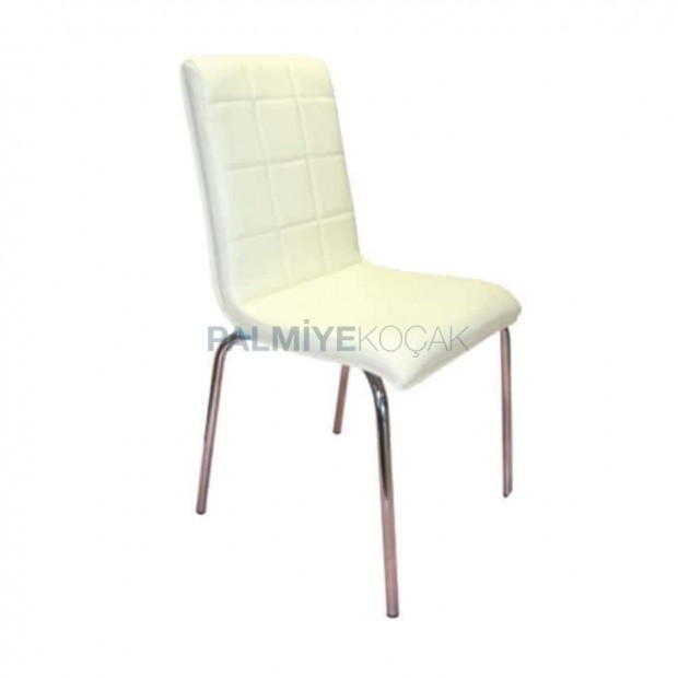 White Leather Metal Restaurant Chair