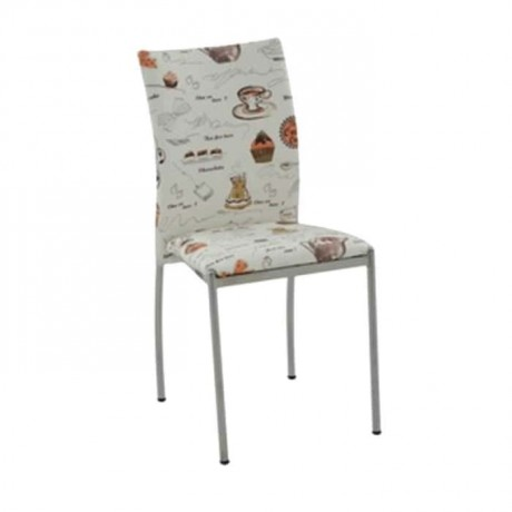 Patterned Leathered Metal Chrome Chair - dms087