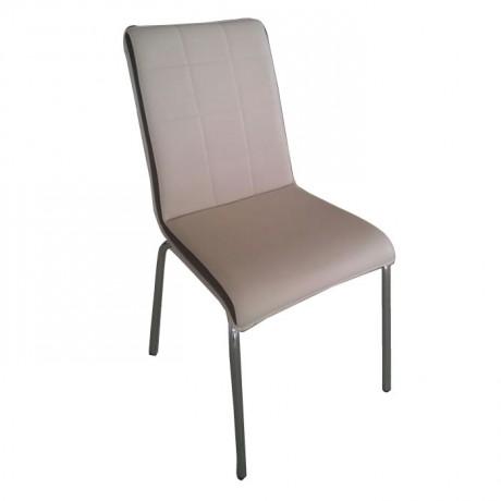 Dikişli Sırt Yüzeyi Krem Deri Döşemeli Mono Blok Cafe Mutfak Sandalyesi - Monoblok Sandalye