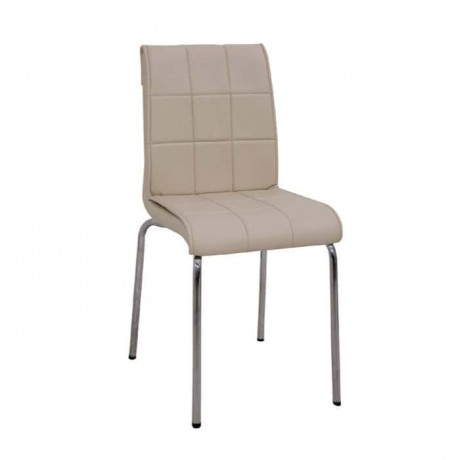 Cafe Chair with Sliced Cream Leather Upholstered - dms071
