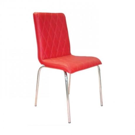 Kapitoneli Kırmızı Derili Metal Sandalye - dms072