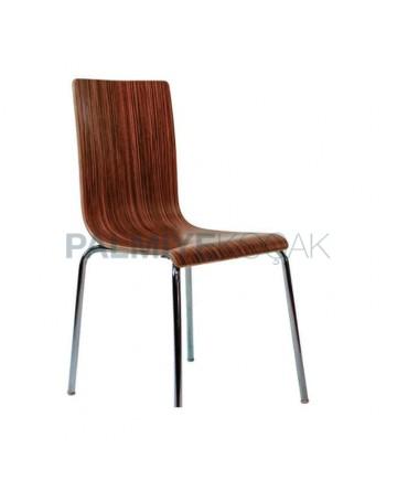 Dark Wooden Color Monoblock Metal Chair