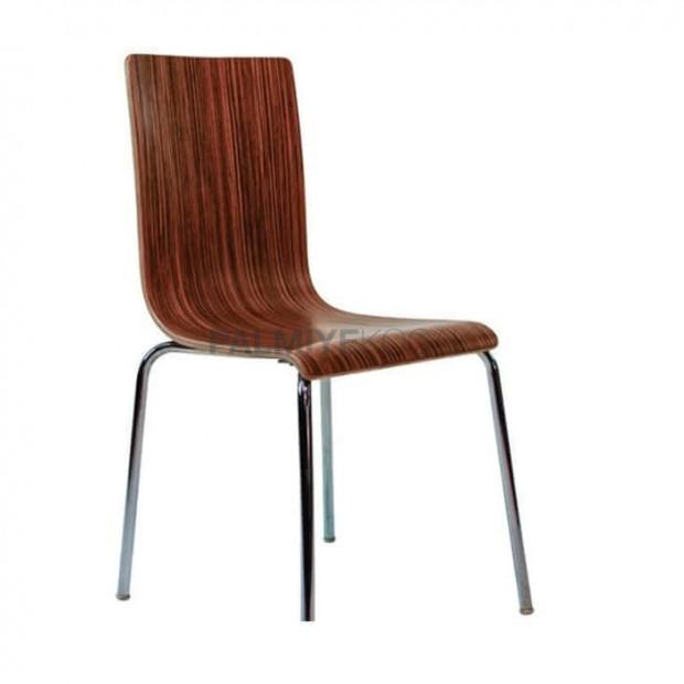 Koyu Ahşap Renkli Monoblok Metal Sandalye