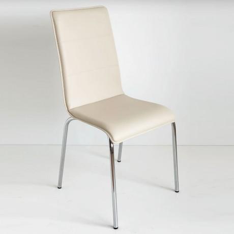 Krem Rengi Deri Döşemeli İnce Süngerli Mono Blok Mutfak Sandalyesi - Monoblok Sandalye
