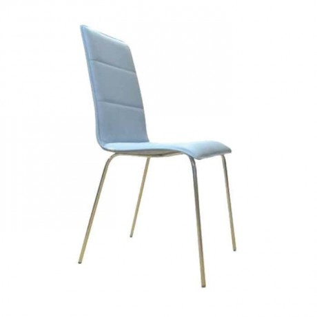 Blue Leather Metal Cafe Chair - dms075