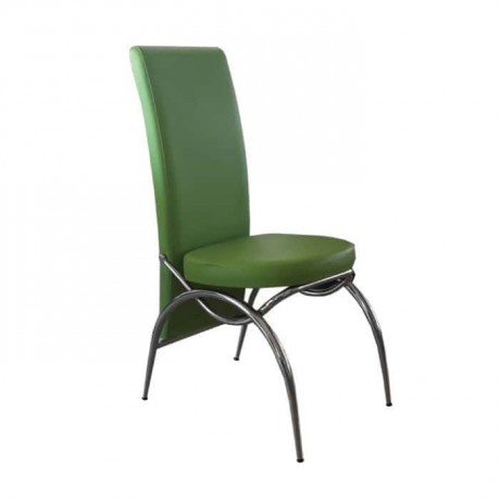 Green Leather Upholstered Metal Chrome Chair - dms070