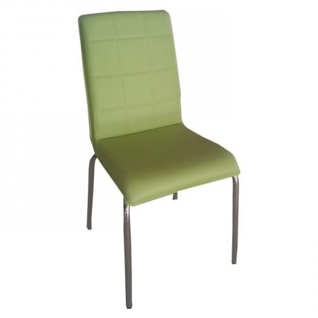 Yeşil Deri Döşemeli Metal Krom Sandalye - dms074