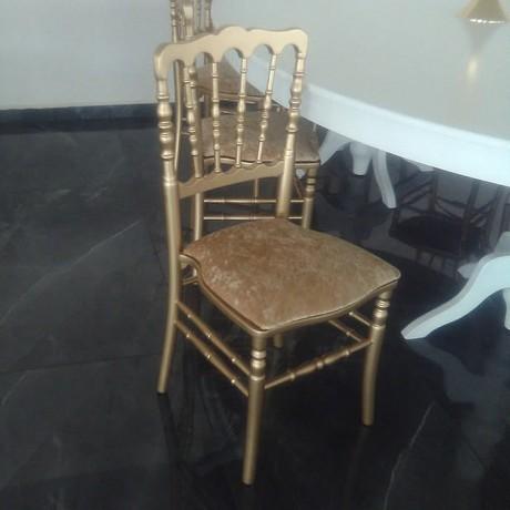 Ahşap İskeletli Minderli Oturma Yüzeyi Cırt Cırtlı Napolyon Gold Sandalye - tfs4052g