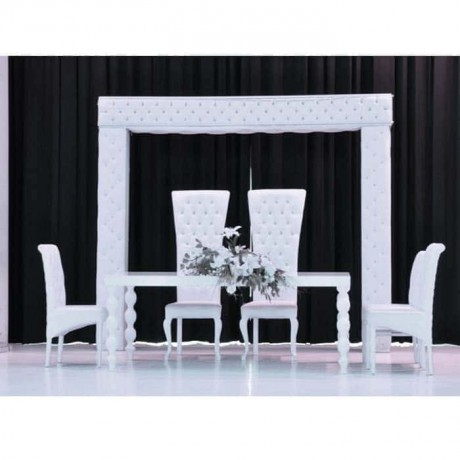 White Painted Turned Table With High Backed Chair Weddings Table Set - nkm13