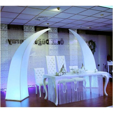 Lukens Wedding Table With White Leather Upholstery - nkm06