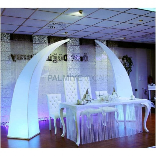 Lukens Wedding Table With White Leather Upholstery
