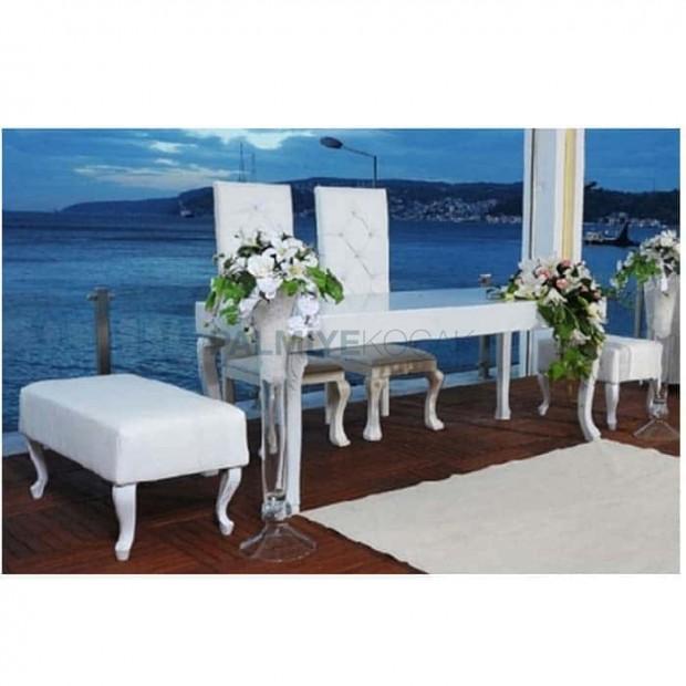 Wedding Hall Lukens Table Chair Wedding Set with Ottoman
