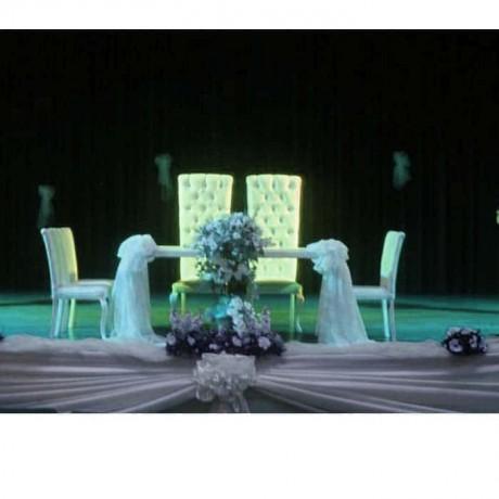Kapitoneli Yüksek sırtlı Sandalyeli Nikah Masası Takımı - nkm25